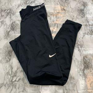 Nike Pro Black Leggings Tights Swoosh Logo Large